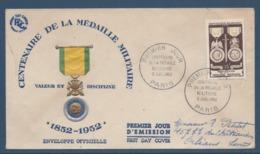 France FDC - Premier Jour - Centenaire De La Médaille Militaire - 1952 - FDC