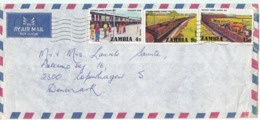 Zambia Air Mail Cover Sent To Denmark Lusaki 11-12-1976 Trains On The Stamps - Zambia (1965-...)