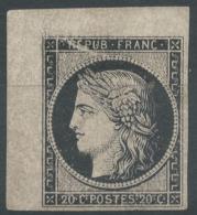 Lot N°51101 Variété/n°3a Noir/blanc, Coin De Feuille, Neuf Sans Gomme, Belles Marges, Trait Blanc Sur REPUB, Cercle Coté - 1849-1850 Ceres