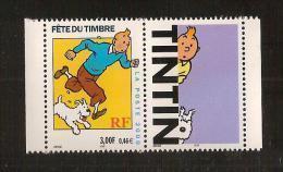 France, 3303b, 3303a, Avec Vignette, Neuf **, TTB, Journée Du Timbre,Tintin Et Milou, Hergé - Neufs
