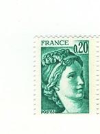 Sabine 0.20fr Vert émeraude YT 1967 En Papier épais . Pas Coté Mais Pas Courant , Voir Le Scan . - Variedades: 1970-79 Nuevos