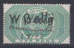 Orange Free State South Africa 1878 £5 Revenue Stamp 0819 -117 - África Del Sur (...-1961)