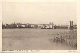 -dpt Div-ref-AM874- Saône Et Loire - Saint Romain Des Iles - St Romain Des Iles - Vue Generale - Pont Suspendu - Usines - Autres Communes