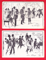 Fant-694A45  Lot De 2 Cpa Art Nouveau, La Danse, Dans Les Coulisses, Cpa - Danse