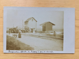 CARTE PHOTO 78 BOUAFFLE INAUGURATION DU TRAMWAY 1908 - Autres Communes