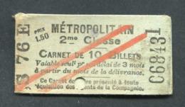 Carnet Vide De Ticket De Métro Parisien (1913) Paris - 2ème Cl - Métropolitain - RATP - Metro