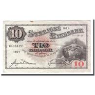 Billet, Suède, 10 Kronor, 1921, 1921, KM:34d, TB - Schweden