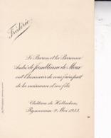 RYMENAM Château De Hollaeken 1933 Naissance De Frédéric De JAMBLINNE De MEUX Format Carte De Visite - Naissance & Baptême