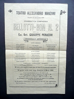 Foglio Volante Teatro Manzoni Milano Bellotti Bon N. 2 Peracchi 1876 - Documentos Antiguos