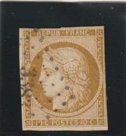 France N° 1 Bistre Brun Touché Au Filet Oblitération Petit Chiffre - 1849-1850 Ceres