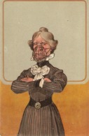 """Comic Woman"" Humorous Antique German Postcard. Embossed - Humor"