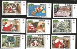 J) 1981 ANGUILLA, CHRISTMAS, THE NIGHT BEFORE CHRISTMAS, SANTA, SET OF 9 MNH - Anguilla (1968-...)