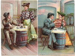 Couple Amoureux Buvant L' Apéritif (Absinthe ?) 2 CPA Gaufrée   (116671) - Couples
