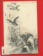 Illustrateur Lucien GAUTIER Belle CPA Chasse Chasseur Chien Canard 1906 Adresse Paris XI Bd Voltaire Kemerle - Otros Ilustradores