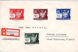 Generalgouvernement 1941, 4 Marken WHW Auf Einschreiben Brief V. Rzeszow - Besetzungen 1938-45
