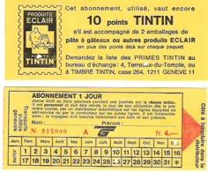 Carte Journalière De Bus Avec Points Tintin - Titres De Transport