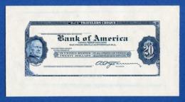 USA - ABNC Bank Of America 20 $ Travelers Cheque Amadeo Peter Giannini Proof On Card - Stati Uniti
