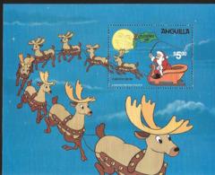 J) 1981 ANGUILLA, CHRISTMAS, THE NIGHT BEFORE CHRISTMA, SANTA'S, AND REINDER, SOUVENIR SHEET, MNH - Anguilla (1968-...)