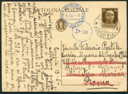 1941 Italy Censor Stationery Postcard Ceggia Venezia - Roma Bolzano Censura Ministero Dell A Marina - 1900-44 Vittorio Emanuele III