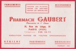 Buvard  Pharmacie Gaubert  21 Rue De Liége ; PARIS VIII Eme ( Toutes Les  Plantes ; Analyses ; Spécialités ) - Produits Pharmaceutiques