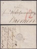 """FRANCE ALLEMAGNE """"128 HAMBOURG""""03/01/1812 VERS BREMEN   (DE) DC-4140 - Poststempel (Briefe)"""