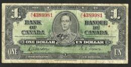 BANK OF CANADA $1 Dollar 1937 *Gordon & Towers* Narrow Sign. Panel BC-21b Prefix Y/L CIRCULATED - Canada