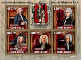 Guinea - Bissau 2010 - 260th Anniversary Of Johann Sebastian Bach & Music Instruments 5v Y&T 3207-3211, Michel 4599-4603 - Guinea-Bissau