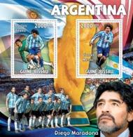 Guinea - Bissau 2010 - Argentina, Carlos Tevez, Lionel Messi, D.Maradona 2v Y&T 3394-3395, Michel 4764-4765/BL800 - Guinea-Bissau