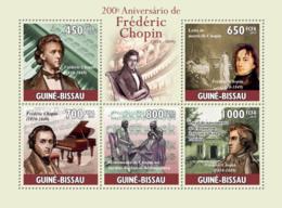 Guinea - Bissau 2010 - 200th Anniversary Of Frederic Chopin (1810-1849) 5v Y&T 3419-3423, Michel 4816-4820 - Guinea-Bissau