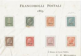 LCTD56- ITALIE VE II SAGGI SU FOGLIETTO  MENABREA - 1861-78 Victor Emmanuel II.