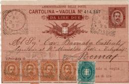 LCTD56- ITALIE UMBERTO I VAGLIA POSTALE AVEC COMPLEMENTS - 1861-78 Victor Emmanuel II.