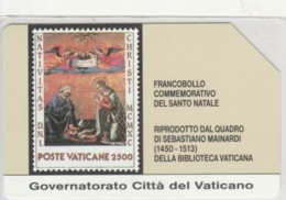 PHONE CARD USED VATICANO SCV3 FRANCOBOLLI SANTO NATALE - Vaticano