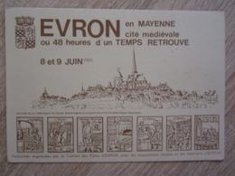 53 Mayenne Evron Cité Médiévale 8 Et 9 Juin 1985 - Evron