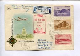 FIRST FLIGHT - TRANS WORLD AIRLINES TWA LOD - NEW YORK 6.4.1954 - ISRAEL AIR MAIL PAR AVION RECOMMANDE -LILHU - Aéreo