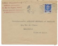 1942- PETAIN SECOURS NATIONAL  1F50  Surchargé Sur Lettre Commerciale  De TOURS Vers TOURS - Marcofilie (Brieven)