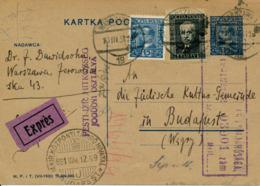 WARSZAWA / POLEN - 1931 , Express-Ganzsache Nach Budapest - Covers & Documents