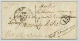Cursive Arrivée Noisy-le-Sec BONDY / LàC 1838 De Metz Pour Alexandre Perthuison Vigneron . Type 13 Et Décime Rural . - Marcophilie (Lettres)