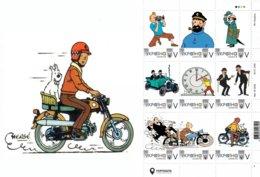 Ukraine 2019, Tintin Adventures, Moto, Auto, Sheetlet Of 9v - Ucrania