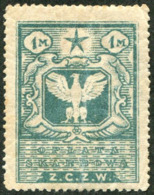 Eastern Poland ZCZW 1920 Polish Occupation Ukraine Belorussia Wilno 1 Mark Revenue Fiscal Tax Russia Civil War Z.C.Z.W. - Fiscales