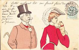 ILLUSTRATEUR-signé MORA-COUPLES Femmes Et Son Chien Homme Au Monocle-Cette Enfant Là Me Ferait Faire Des Folies-1905-TBE - Illustrateurs & Photographes