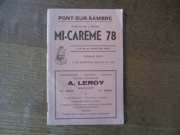PONT-SUR-SAMBRE DIMANCHE 5 MARS MI-CAREME 78 PROGRAMME N° 1972 - Programme