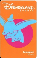 PASS-DISNEYLAND-1998-DUMBO-ENFANT-V°-SPEOS-99-06-DUM-Couleur Orange Foncé R°/V° TB E - Toegangsticket Disney