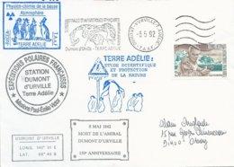 TAAF - Dumont D'Urville-T.Adélie: Lettre Avec Timbre N°167 Tchernia + OMEC SATAS Du 08/05/1992 - Storia Postale