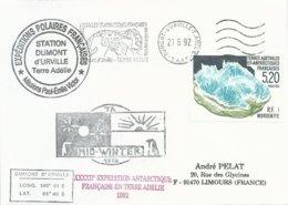 TAAF - Dumont D'Urville-T.Adélie: Lettre Avec Timbre N°160 Mordenite + OMEC SATAS Du 21/06/1992 - Terres Australes Et Antarctiques Françaises (TAAF)