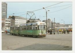 CPM VOIR DOS Tram Tramway Gare De Charleroi Sud Motrice 425 Et Remorque PUB Macaroni Soubry - Charleroi