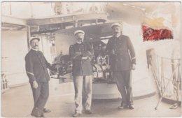 Carte Photo Bateaux Navire De Guerre à Identifier - Marins, Commandant Devant Canon - Torpilleur. Tampon Le Havre? - Warships