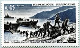 N° Yvert & Tellier 1605 - Timbre De France (Année 1969) - MNH - 25è Anniv. Libération - Débarquement En Provence - Nuevos