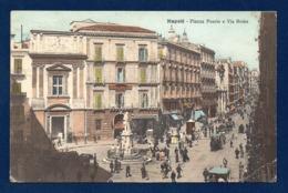 Italie. Napoli. Piazza Poerio E Via Roma. Hôtel De L'Univers, Albergo Dell'Allegria. Cinematografo Internazionale. 1911 - Napoli (Naples)