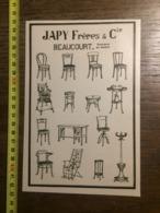 1924 PUBLICITE CHAISES JAPY FRERES BEAUCOURT USINE FRANCAISE SIEGES BOIS COURBE - Old Paper