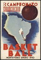 TOPIC BASKETBALL: Postcard Of The South American Basketball Championship In Montevideo (Uruguay), January 1940, VF Quali - Baseball